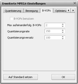 Fenster mit den MPEG-4-Einstellungen