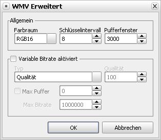 Erweiterte WMV-Codeceinstellungen
