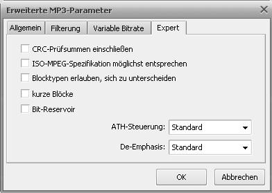 Erweiterte MP3-Einstellungen