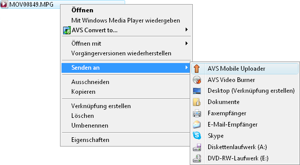 Expressmenü von Windows Explorer