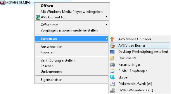 Expressmenü von Windows Explorer