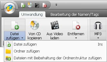 Hinzufügen der Dateien und Ordner von der Festplatte