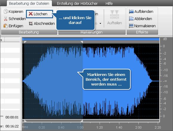 Tonbearbeitung - Löschen der unnötigen Teile