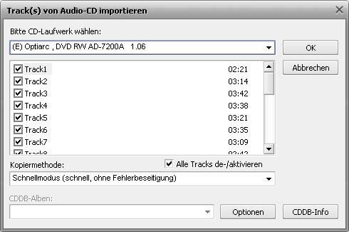 Kopieren der Audio-CDs auf die Festplatte