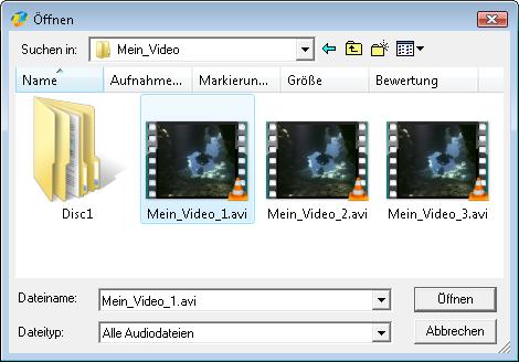 Hinzufügen der Audiotracks von einer Videodatei