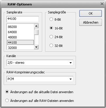 """Fenster """"RAW-Optionen"""""""