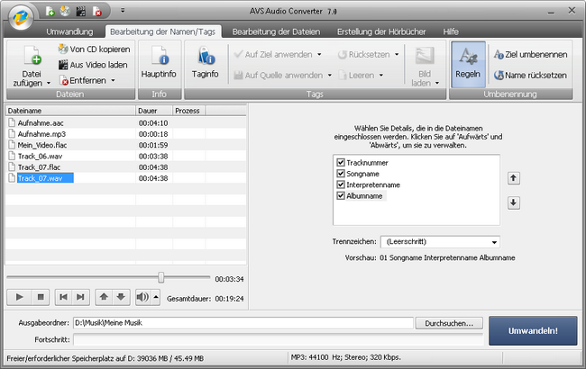 AVS Audio Converter - Umbenennung der Dateien