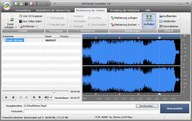 AVS Audio Converter - Aufteilung der Audiodateien