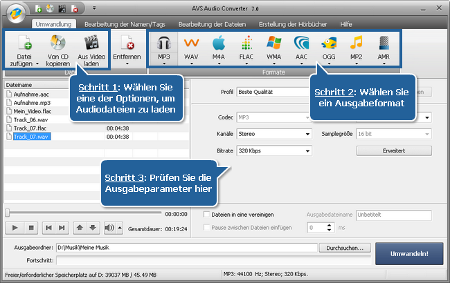 Arbeit mit dem AVS Audio Converter - Schritte 1, 2, 3