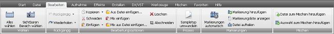 """AVS Audio Editor - Registerkarte """"Bearbeiten"""""""