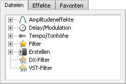 Datei- und Effektbereich. Effektliste