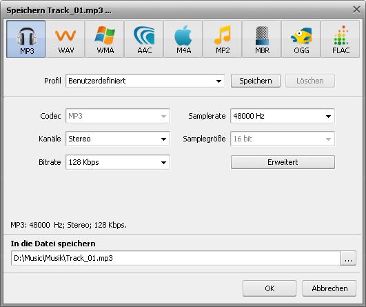Fenster Exportierung aus einem Mix in die Audiodatei