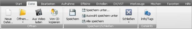 "AVS Audio Editor - Registerkarte ""Datei"""