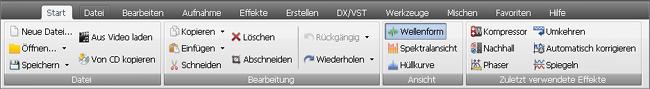 """AVS Audio Editor - Registerkarte """"Start"""""""