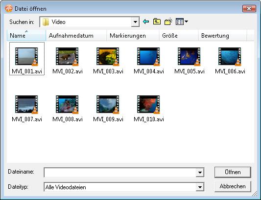 Importieren einer Videodatei
