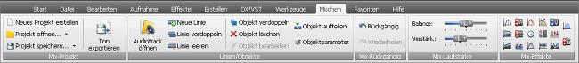 "AVS Audio Editor - Registerkarte ""Mischen"""