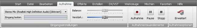 "AVS Audio Editor - Registerkarte ""Aufnahme"""
