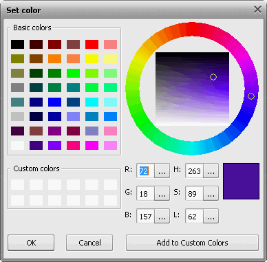 Einstellung der Parameter. Fenster Farbe wählen