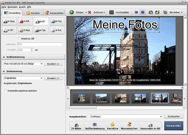 Umwandlung ins GIF-Format