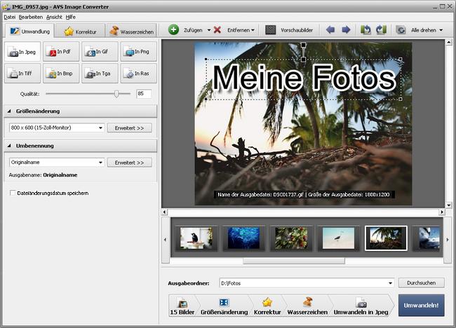 Umwandlung ins JPEG-Format