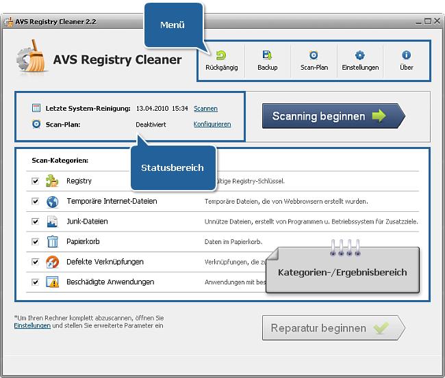 Hauptfenster von AVS Registry Cleaner