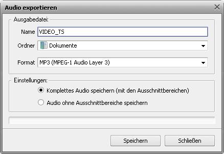 Fenster Audio exportieren