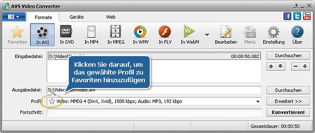 AVS Video Converter - Hauptfenster