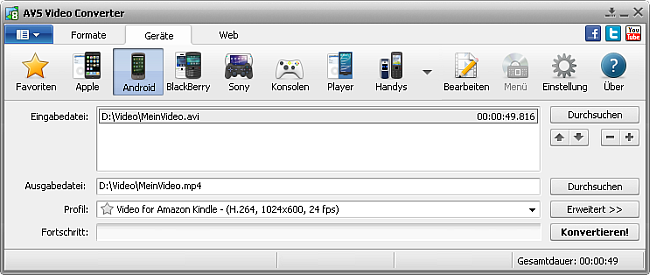 Hauptfenster - für Android