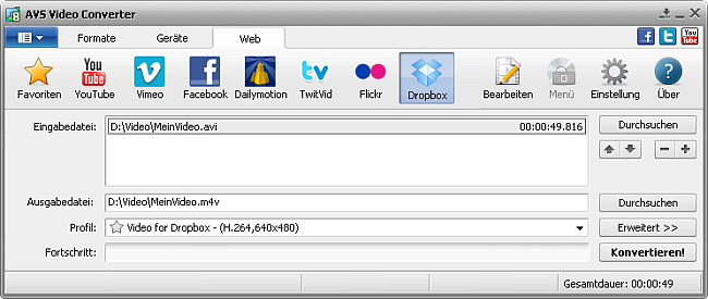 Hauptfenster von AVS Video Converter - Dropbox