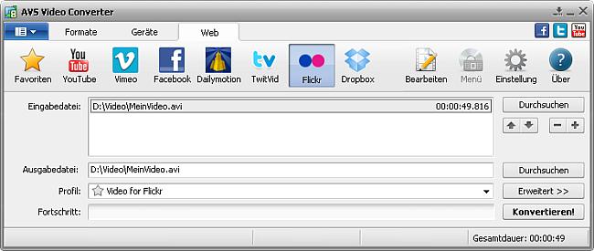 Hauptfenster vom AVS Video Converter - Flickr