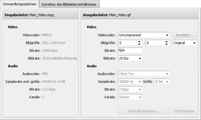 "Registerkarte ""Umwandlungsoptionen"" - GIF"