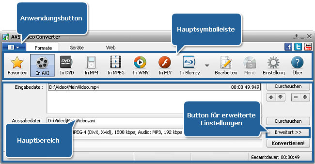Hauptfenster von AVS Video Converter