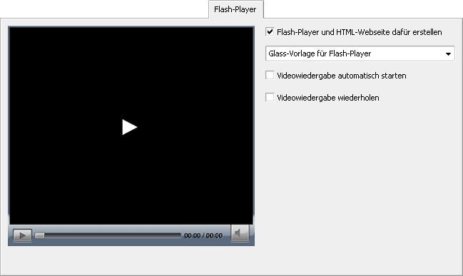 "Registerkarte ""Flash-Player"""