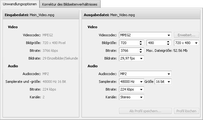 """Registerkarte """"Umwandlungsoptionen"""" - MPEG"""