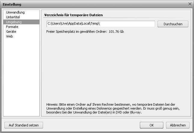 Fenster Einstellung - Registerkarte Umgebung
