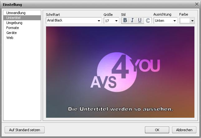 Fenster Einstellung - Registerkarte Untertitel