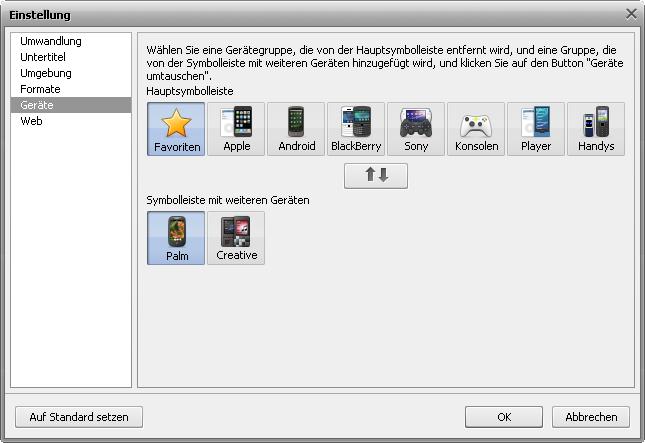 Fenster Einstellung - Registerkarte Geräte