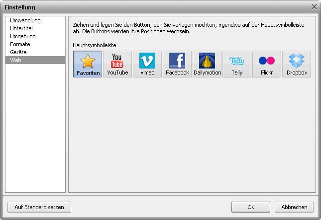 Fenster Einstellung - Registerkarte Web