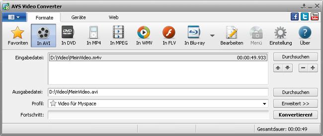 Hauptfenster vom AVS Video Converter - AVI