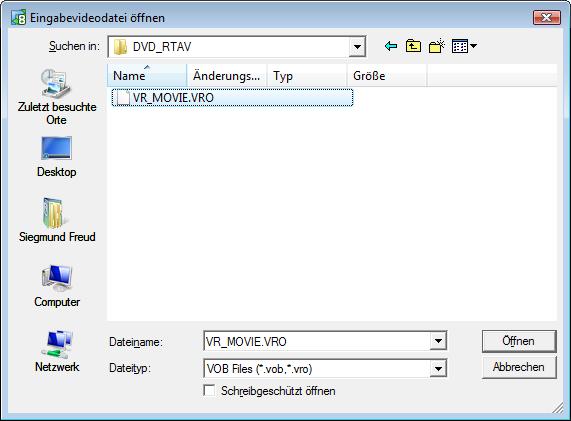 Auswahl der VRO-Videodateien