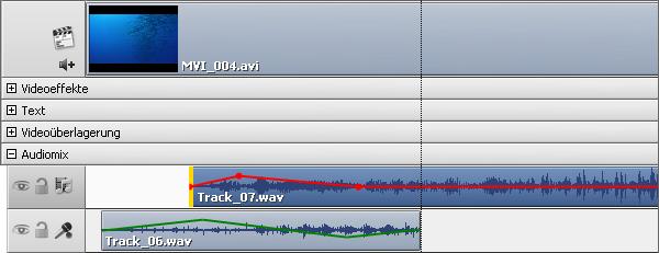 Audiotrack auf der Zeitachse