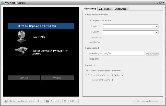 Hauptfenster von AVS Video Recorder