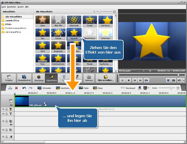 Ziehen und Ablegen des Videoeffekts innerhalb des Hauptvideos