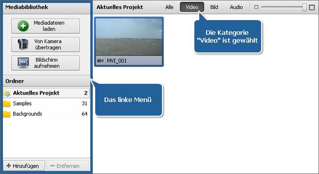 """Datei- und Effektbereich - Ansicht """"Mediabibliothek"""""""