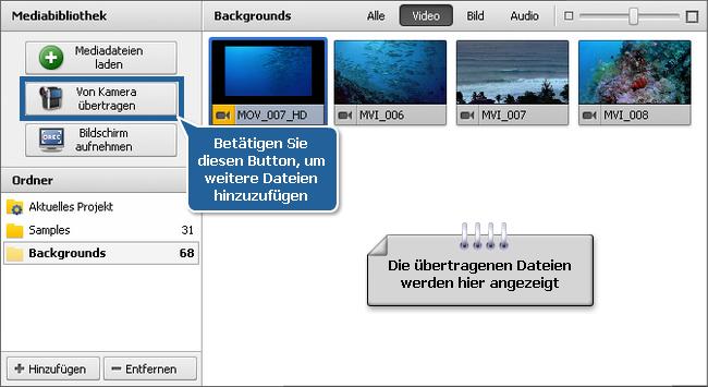 Datei- und Effektbereich - Videodateien