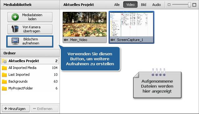 Datei- und Effektbereich - Ansicht Videodateien