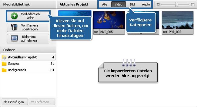 Datei- und Effektbereich - Mediabibliothek