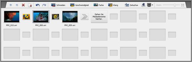 Zeitachsen-/Storyboardbereich - Storyboard