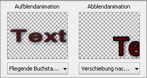 Fenster mit Texteigenschaften. Animation