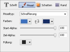 Fenster mit Texteigenschaften. Pinsel